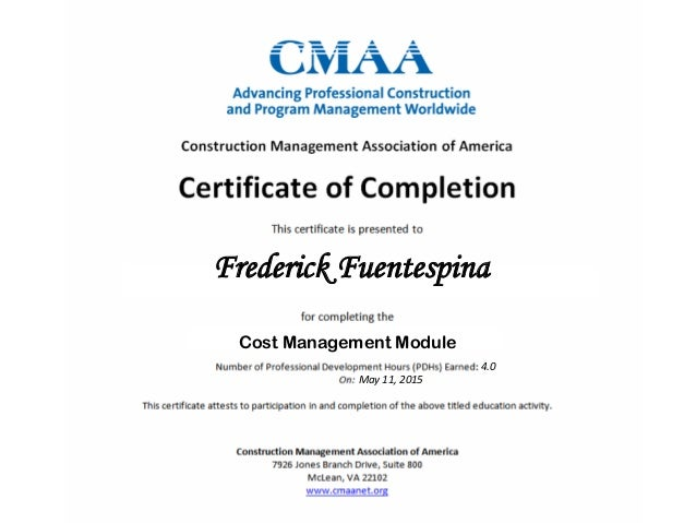 Frederick Fuentespina Cost Management Module 4.0 May 11, 2015