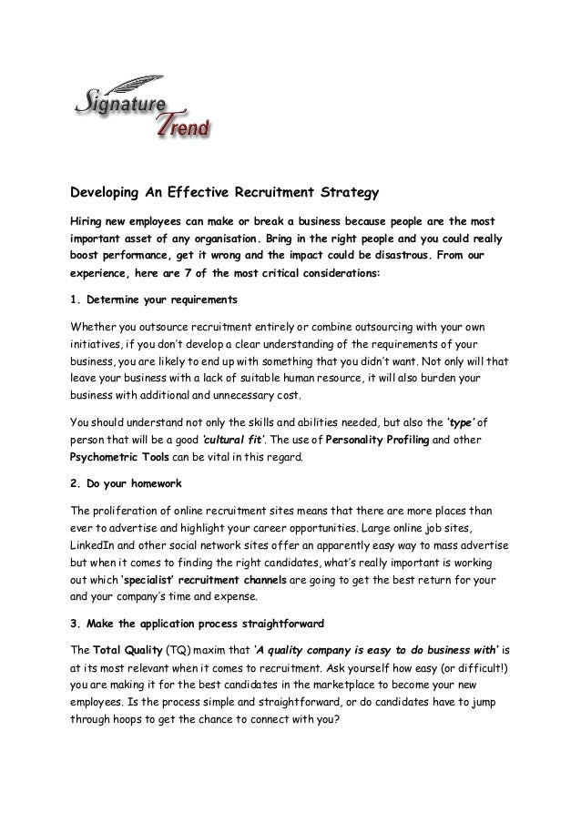 Developing An Effective Recruitment Strategy - Signature Trend