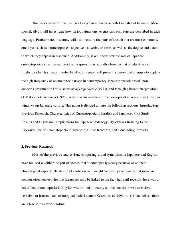 A Comparison of the Use of Adjectives and Onomatopoeic Words for Desc…