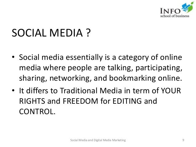 SOCIAL MEDIA ? • Social media essentially is a category of online media where people are talking, participating, sharing, ...