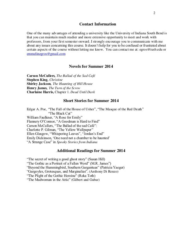 Syllabus Eng190 LitHauntings Summer 2014