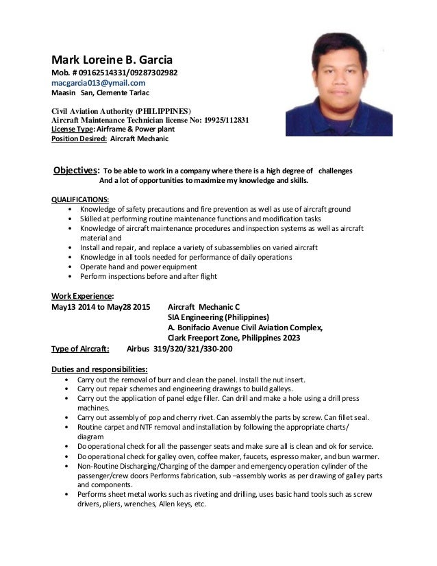 mark amt resume - Sample Resume For Aircraft Maintenance Technician Ojt