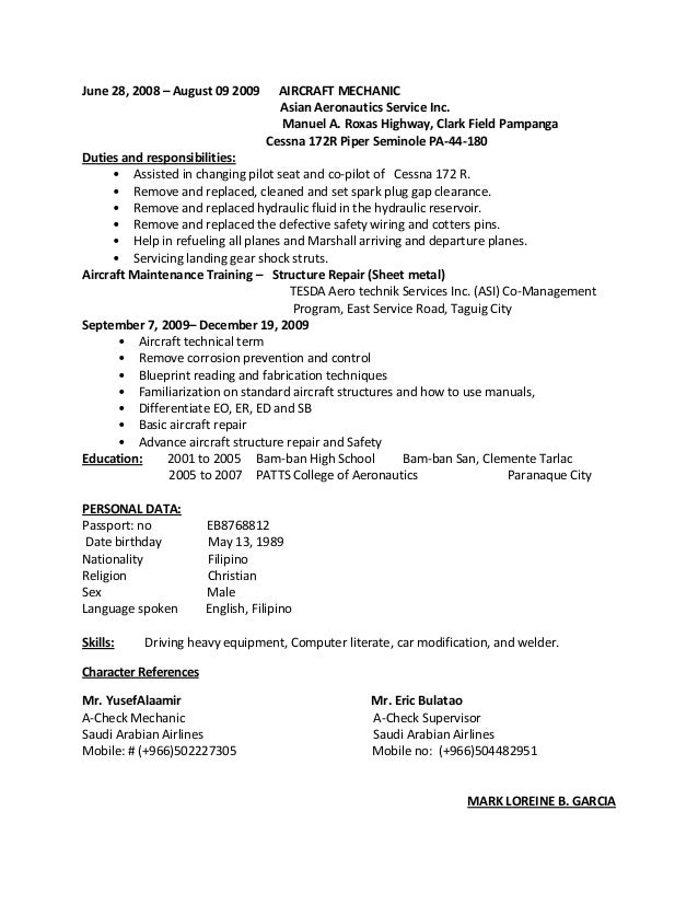 trainings 3 june 28 2008 august 09 2009 aircraft mechanic - Sample Resume For Aircraft Maintenance Technician Ojt