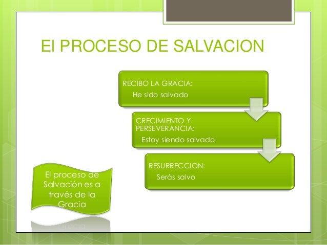 El PROCESO DE SALVACION RECIBO LA GRACIA: He sido salvado CRECIMIENTO Y PERSEVERANCIA: Estoy siendo salvado  El proceso de...