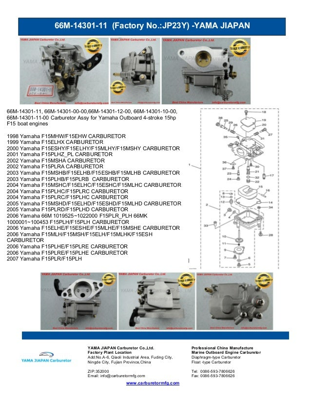 66M-14301-11 (Factory No.:JP23Y) -YAMA JIAPAN www.carburetormfg.com YAMA JIAPAN Carburetor Co.,Ltd. Professional China Man...
