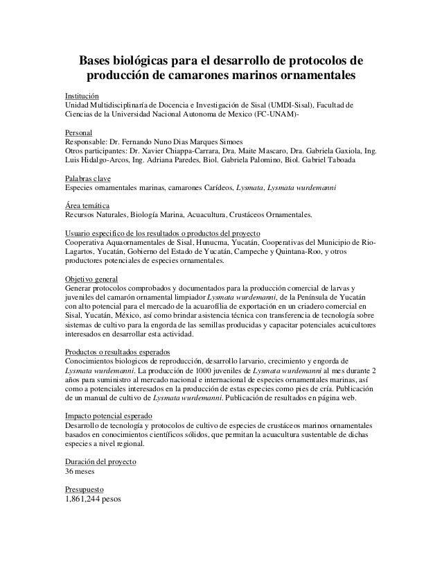 Bases biológicas para el desarrollo de protocolos de producción de camarones marinos ornamentales Institución Unidad Multi...