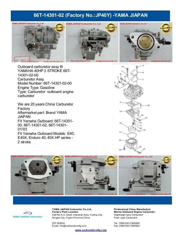 66T-14301-02 (Factory No.:JP40Y) -YAMA JIAPAN www.carburetormfg.com YAMA JIAPAN Carburetor Co.,Ltd. Professional China Man...