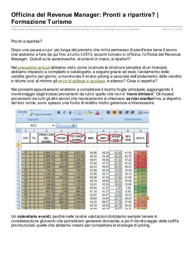 Officina del Revenue Manager: Pronti a ripartire? |Formazione Turismohttp://www.formaz ioneturismo.com/in- evidenz a/offic...