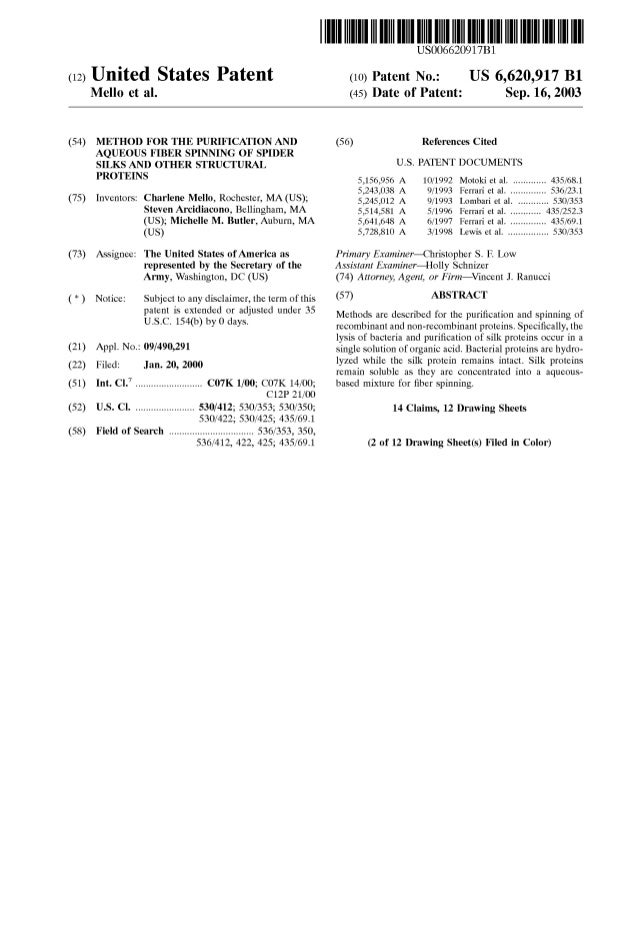 (12) United States Patent Mello et al. (54) (75) METHOD FOR THE PURIFICATION AND AQUEOUS FIBER SPINNING OF SPIDER SILKS AN...
