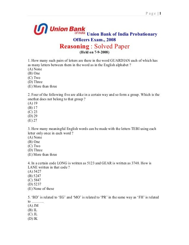 Page |1                                     Union Bank of India Probationary                              Officers Exam., ...