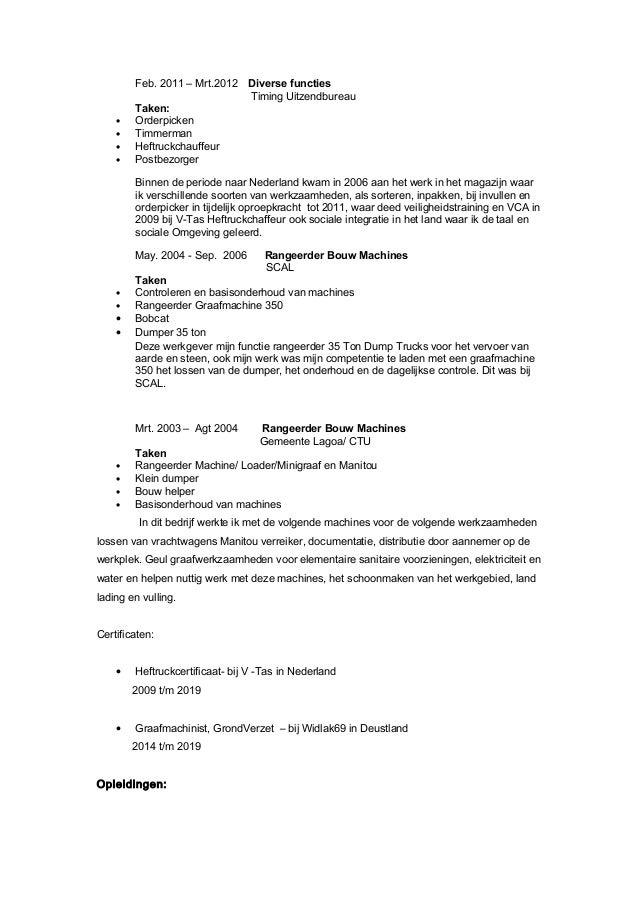 Graafmachinist CV