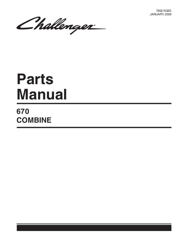 670 Challenger Combine Parts Manual