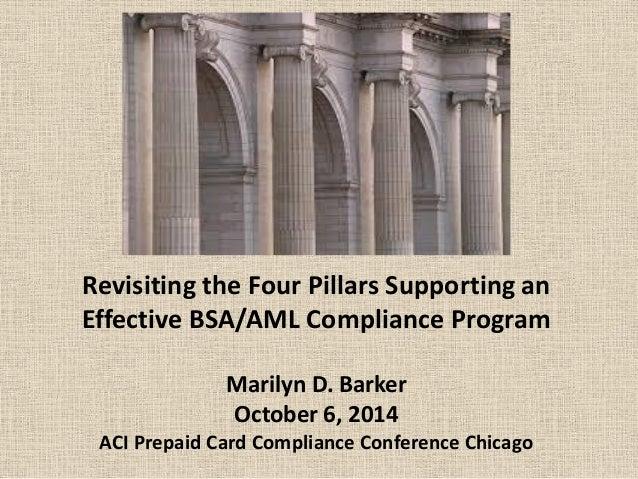 Revisiting the Four Pillars Supporting an Effective BSA/AML Compliance Program Marilyn D. Barker October 6, 2014 ACI Prepa...