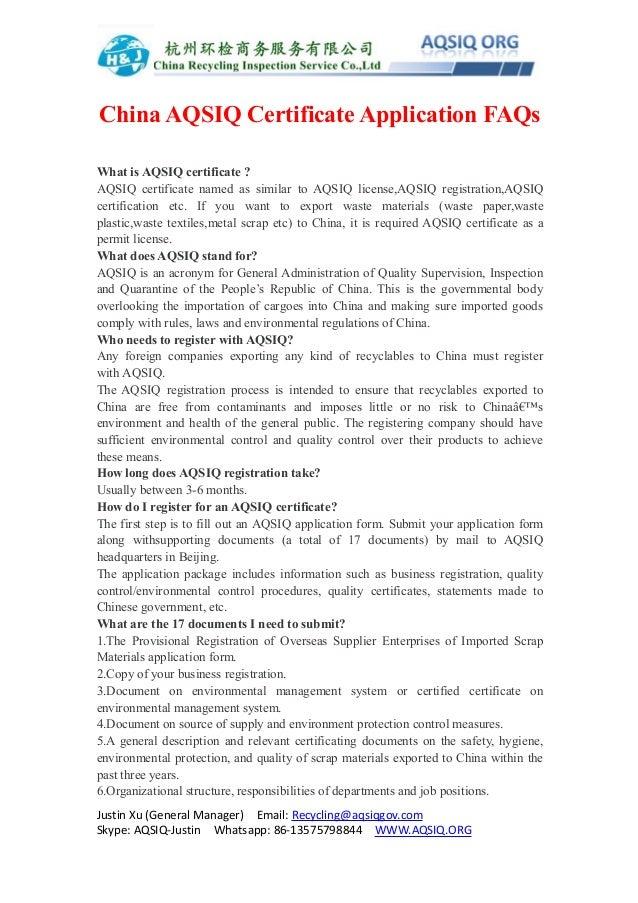Aqsiq Certificate Application Faqs
