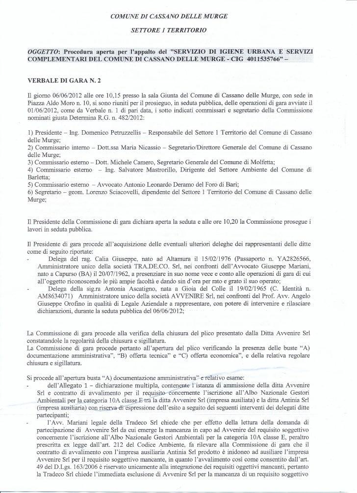COMUNE DI CASSANO DELLE MURGE                                          SETTORE 1TERRITORIOOGGETTO: Procedura aperta per la...