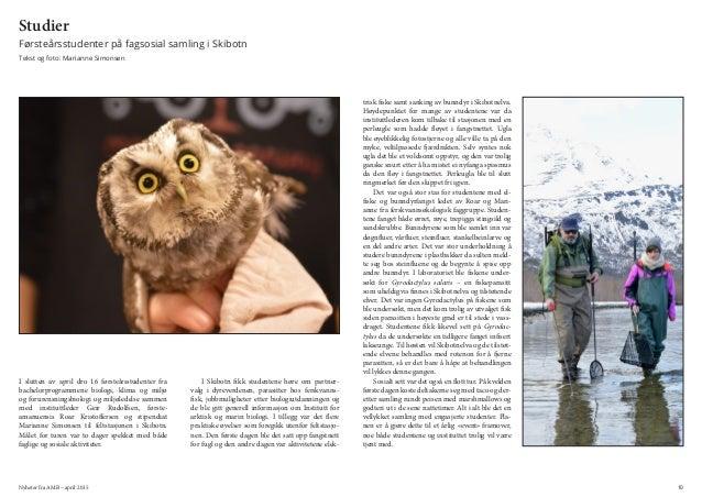 Nyheter fra AMB – april 2015 10 Studier Førsteårsstudenter på fagsosial samling i Skibotn Tekst og foto: Marianne Simonsen...