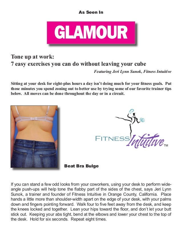 GLAMOUR As Seen In Tone up at work: 7 easy exercises you can do without leaving your cube Featuring Jeri Lynn Sunok, Fitne...