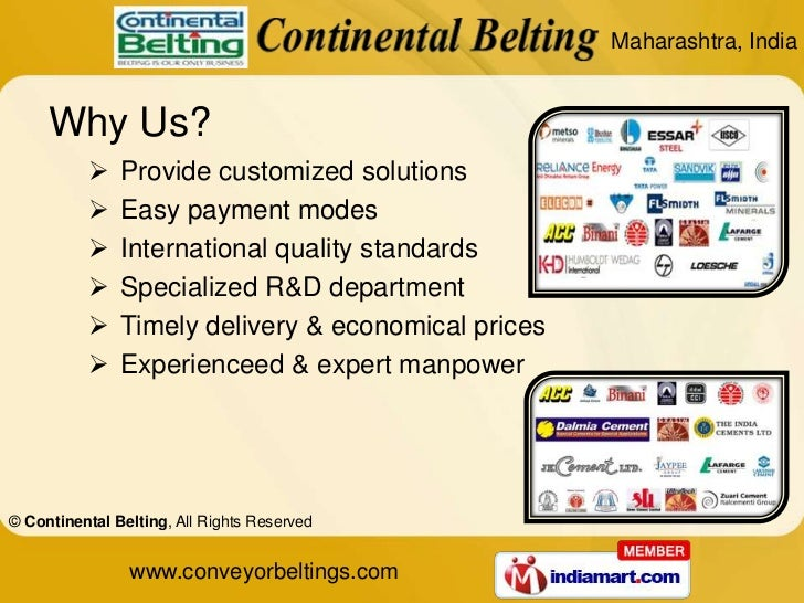 Products Warranty by Continental Belting Mumbai Slide 3