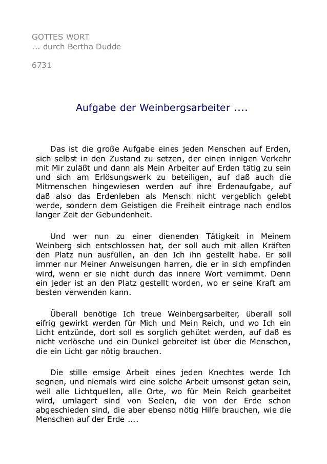 GOTTES WORT  ... durch Bertha Dudde  6731  Aufgabe der Weinbergsarbeiter ....  Das ist die große Aufgabe eines jeden Mensc...