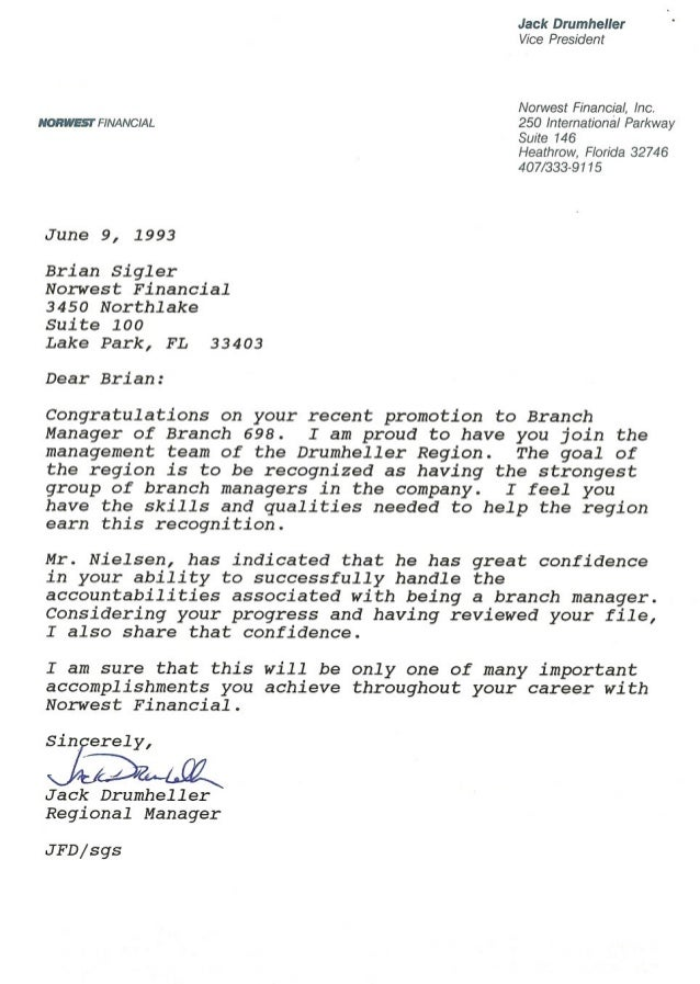Norwest financial promotion to branch manager congratulations letter norwesi financial june 9 1993 brian sigler norwest financial 3450 northlake suite 100 lake spiritdancerdesigns Gallery