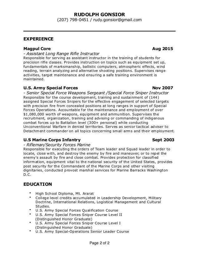 resume sniper instructor rudy gonsior 20151210