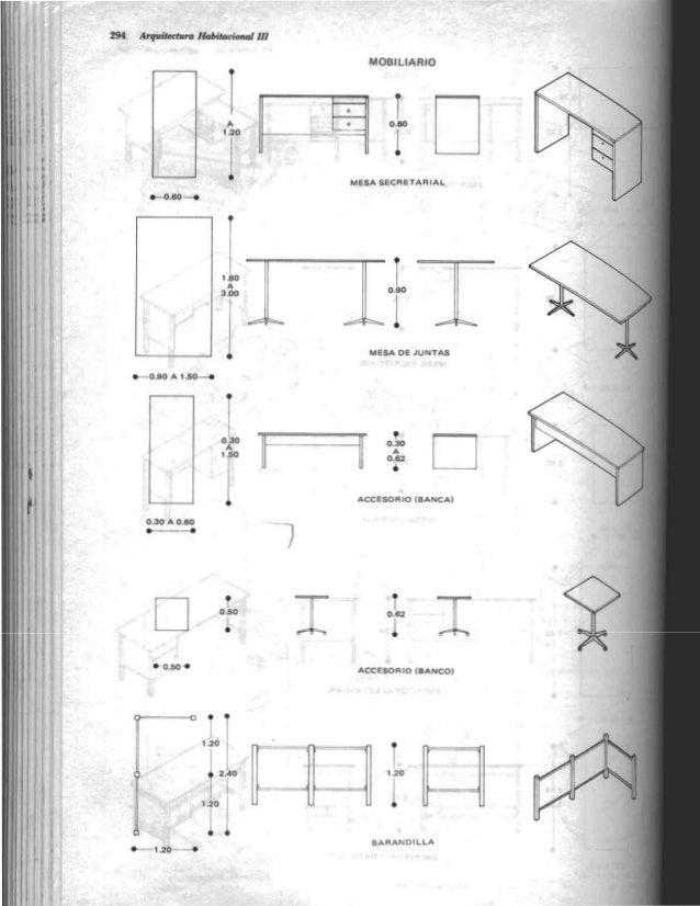 Arquitectura habitacional plazola for Medidas ergonomicas de un escritorio
