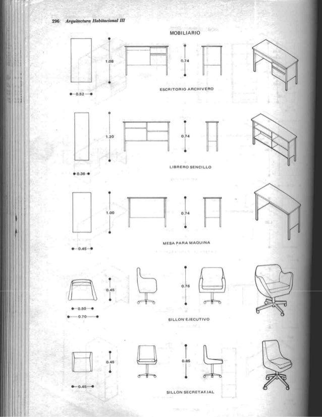 Arquitectura habitacional plazola for Medidas de muebles en planta
