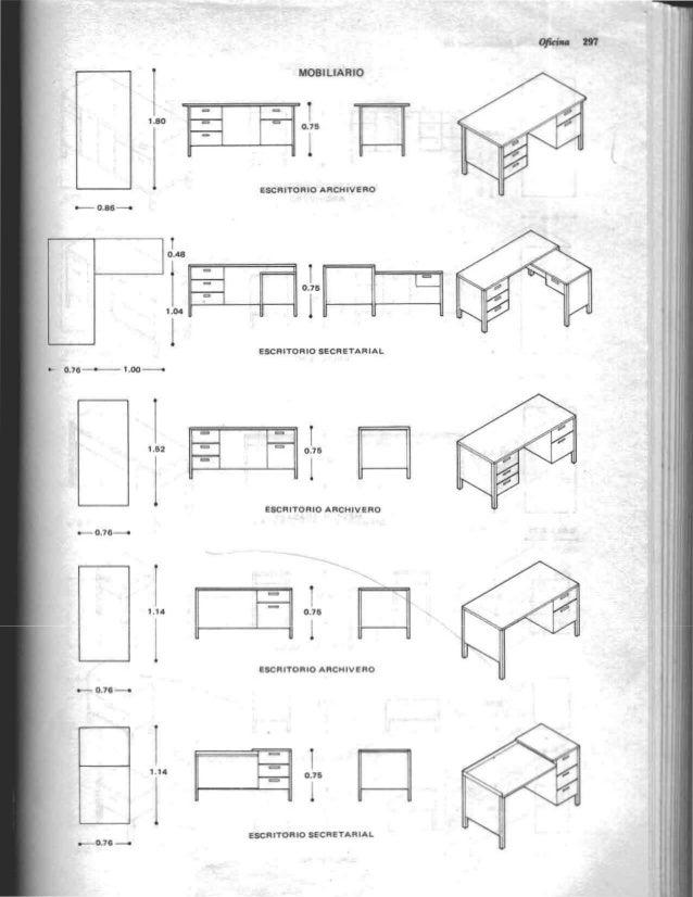 Arquitectura habitacional plazola for Medidas estandar de escritorios de oficina