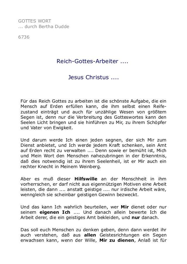 GOTTES WORT  ... durch Bertha Dudde  6736  Reich-Gottes-Arbeiter ....  Jesus Christus ....  Für das Reich Gottes zu arbeit...