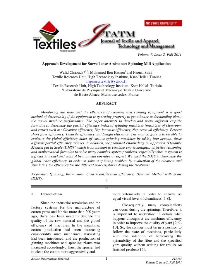 Volume 7, Issue 2, Fall 2011        Approach Development for Surveillance Assistance: Spinning Mill Application           ...