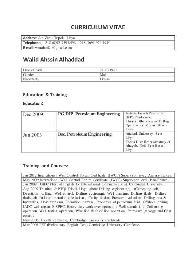 CURRICULUM VITAE Walid Alhaddad Drilling Supervisor