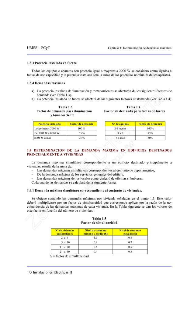 UMSS – FCyT Capítulo 1: Determinación de demandas máximas 1/3 Instalaciones Eléctricas II 1.3.3 Potencia instalada en fuer...