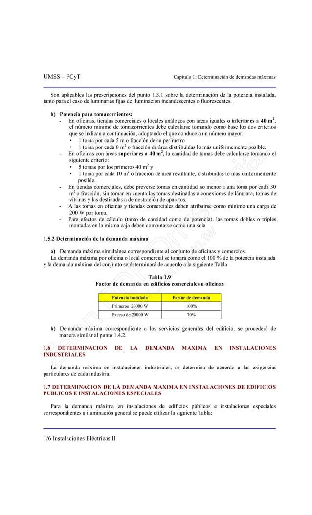UMSS – FCyT Capítulo 1: Determinación de demandas máximas 1/6 Instalaciones Eléctricas II Son aplicables las prescripcione...