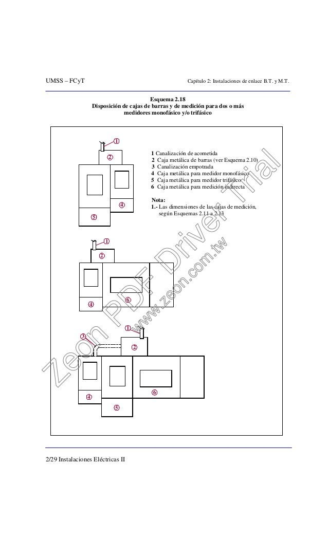 UMSS – FCyT Capítulo 2: Instalaciones de enlace B.T. y M.T. 2/29 Instalaciones Eléctricas II Esquema 2.18 Disposición de c...