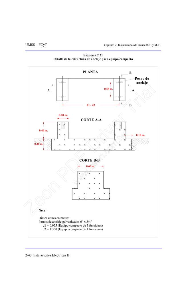 UMSS – FCyT Capítulo 2: Instalaciones de enlace B.T. y M.T. 2/43 Instalaciones Eléctricas II Esquema 2.31 Detalle de la es...