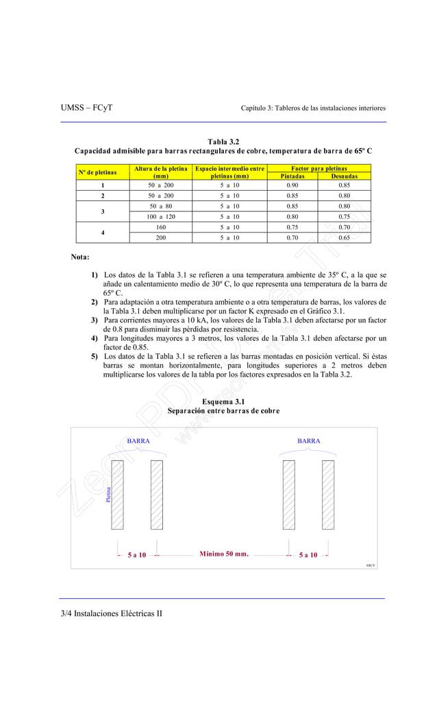 UMSS – FCyT Capítulo 3: Tableros de las instalaciones interiores 3/4 Instalaciones Eléctricas II Tabla 3.2 Capacidad admis...