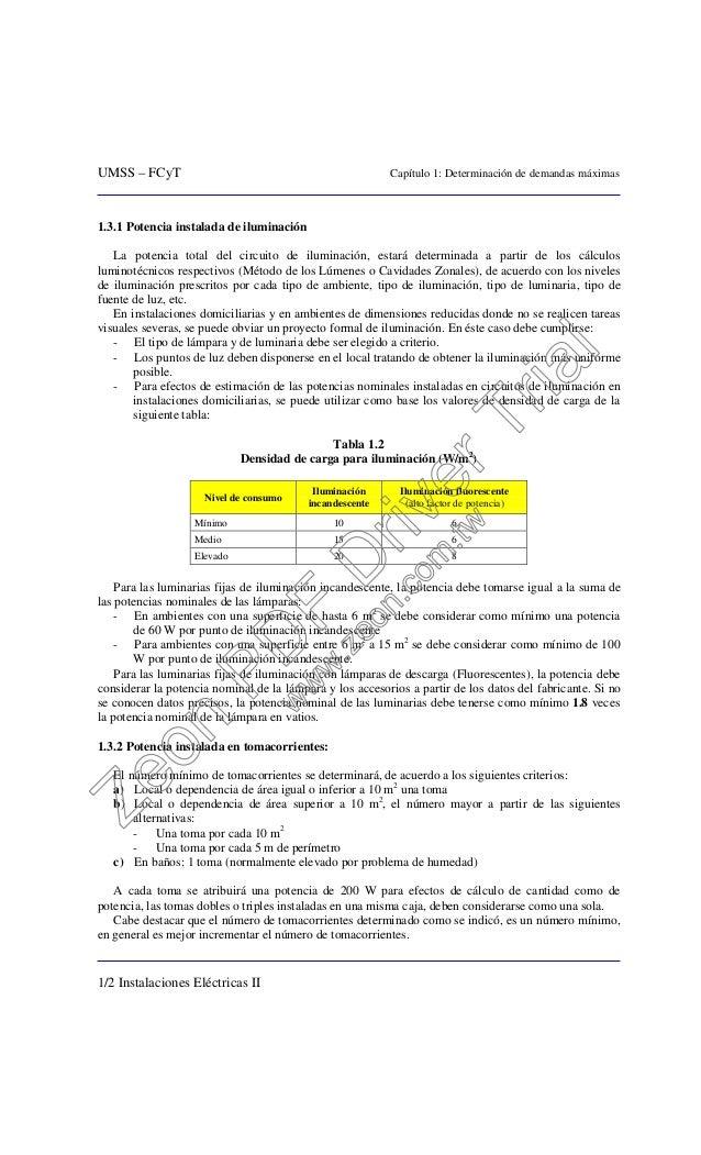UMSS – FCyT Capítulo 1: Determinación de demandas máximas 1/2 Instalaciones Eléctricas II 1.3.1 Potencia instalada de ilum...