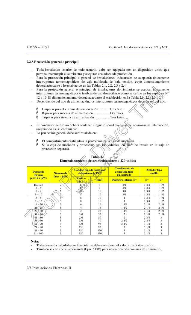 UMSS – FCyT Capítulo 2: Instalaciones de enlace B.T. y M.T. 2/5 Instalaciones Eléctricas II 2.2.8 Protección general o pri...