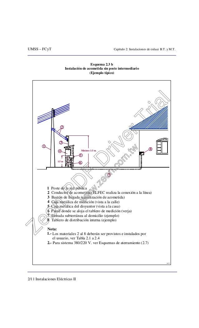 UMSS – FCyT Capítulo 2: Instalaciones de enlace B.T. y M.T. 2/11 Instalaciones Eléctricas II Esquema 2.3 b Instalación de ...