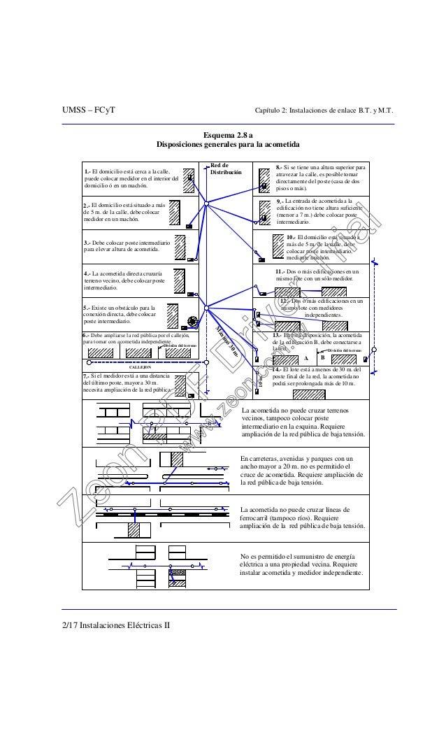 UMSS – FCyT Capítulo 2: Instalaciones de enlace B.T. y M.T. 2/17 Instalaciones Eléctricas II Esquema 2.8 a Disposiciones g...
