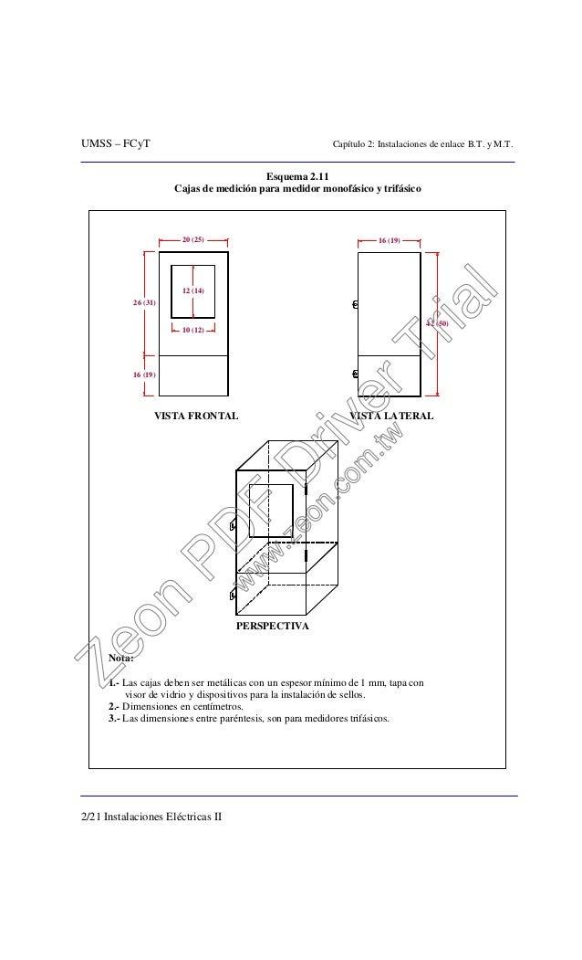 UMSS – FCyT Capítulo 2: Instalaciones de enlace B.T. y M.T. 2/21 Instalaciones Eléctricas II Esquema 2.11 Cajas de medició...