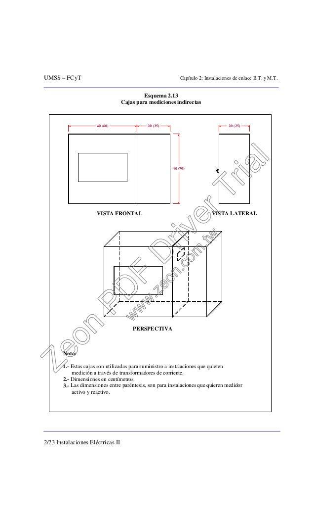 UMSS – FCyT Capítulo 2: Instalaciones de enlace B.T. y M.T. 2/23 Instalaciones Eléctricas II Esquema 2.13 Cajas para medic...