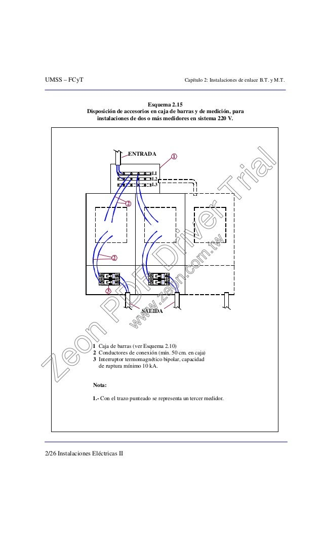 UMSS – FCyT Capítulo 2: Instalaciones de enlace B.T. y M.T. 2/26 Instalaciones Eléctricas II Esquema 2.15 Disposición de a...