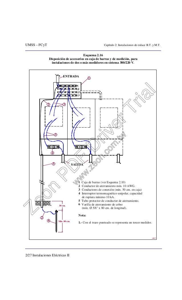 UMSS – FCyT Capítulo 2: Instalaciones de enlace B.T. y M.T. 2/27 Instalaciones Eléctricas II Esquema 2.16 Disposición de a...