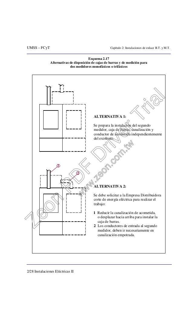 UMSS – FCyT Capítulo 2: Instalaciones de enlace B.T. y M.T. 2/28 Instalaciones Eléctricas II Esquema 2.17 Alternativas de ...