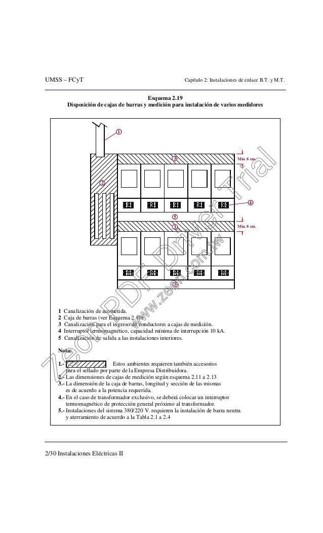 UMSS – FCyT Capítulo 2: Instalaciones de enlace B.T. y M.T. 2/30 Instalaciones Eléctricas II Esquema 2.19 Disposición de c...