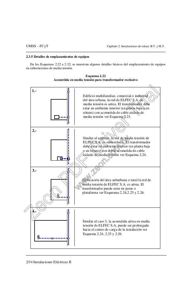 UMSS – FCyT Capítulo 2: Instalaciones de enlace B.T. y M.T. 2/34 Instalaciones Eléctricas II 2.3.5 Detalles de emplazamien...