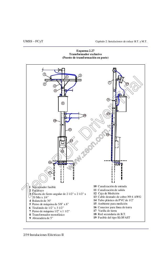 UMSS – FCyT Capítulo 2: Instalaciones de enlace B.T. y M.T. 2/39 Instalaciones Eléctricas II Esquema 2.27 Transformador ex...