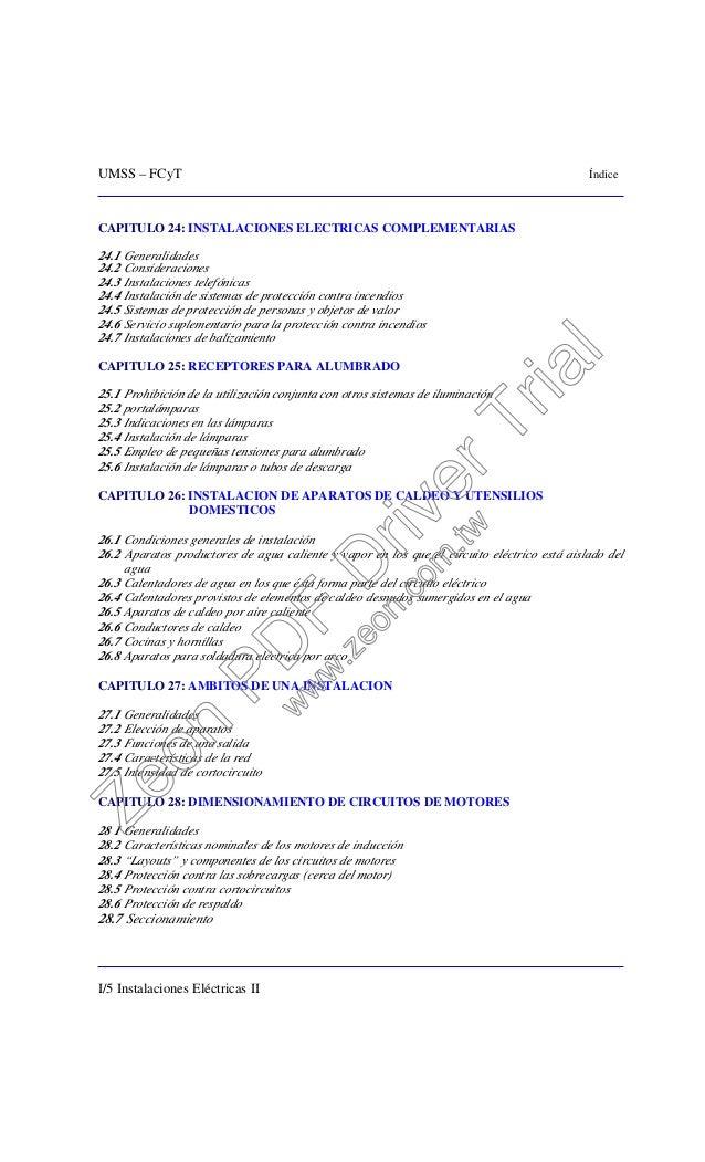 UMSS – FCyT Índice I/5 Instalaciones Eléctricas II CAPITULO 24: INSTALACIONES ELECTRICAS COMPLEMENTARIAS 24.1 Generalidade...
