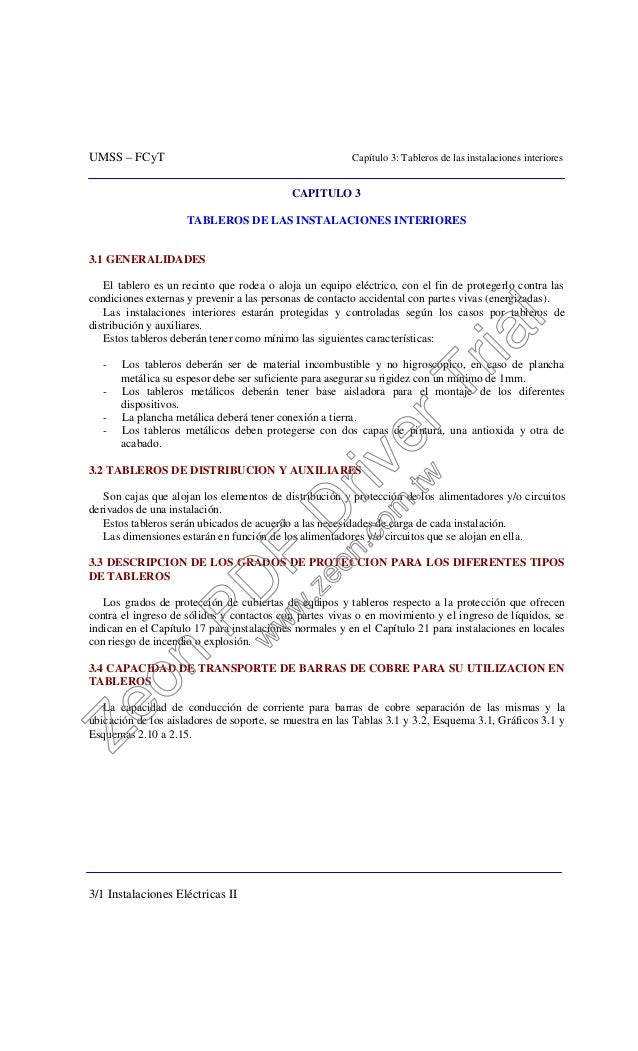 UMSS – FCyT Capítulo 3: Tableros de las instalaciones interiores 3/1 Instalaciones Eléctricas II CAPITULO 3 TABLEROS DE LA...